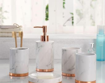 marble look with rose gold trim 5 piece bathroom accessory set - Gold Bathroom Accessories