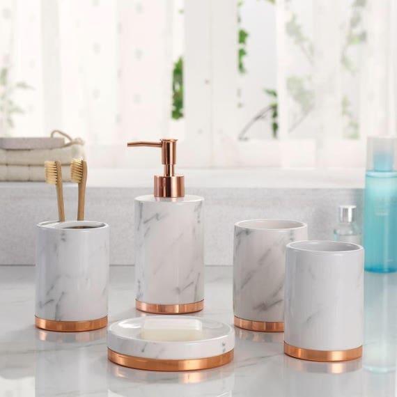 Marmor Look Mit Rose Gold Trim 5 Stuck Badezimmer Zubehor Set Etsy