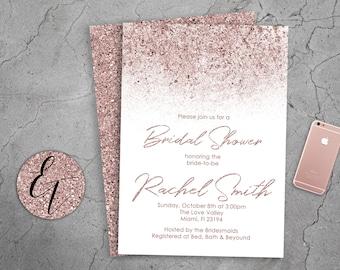 Rose Gold Invitation Etsy