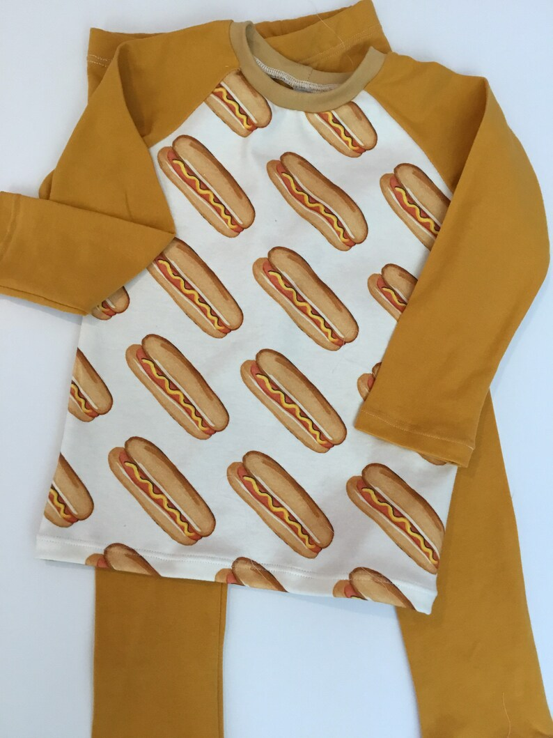 Hot dog print pajamas Organic cotton jersey pajamas Children\u2019s pajamas Toddlers pajamas Hot dogs with grey or mustard colored jersey