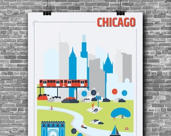 8 x 10 in TO DOWNLOAD - Chicago's city illustration!