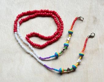 Love is Love, Mask Chain, Glasses chain, Valentines Day Mask Chain, Beaded Mask Chain, Beaded Glasses Chain, Pride Mask chain, Pride Glasses