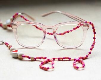 Mask Chain, Glasses chain, Valentines Day Mask Chain, Valentines Day glasses Chain, Beaded Mask Chain, Beaded Glasses Chain