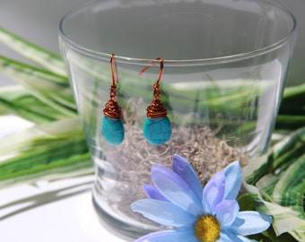 Turquoise and Copper Earrings Mothers Day Girlfriend Birthday Gift