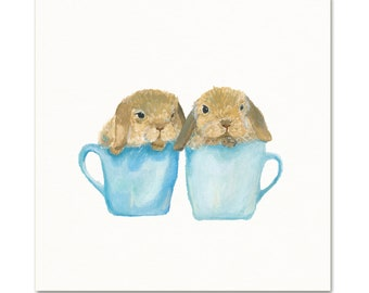 Bunny Watercolor Art Print. Kitchen Decor. Unique Nursery Art. Bunnies in Teacups. Cute Art.