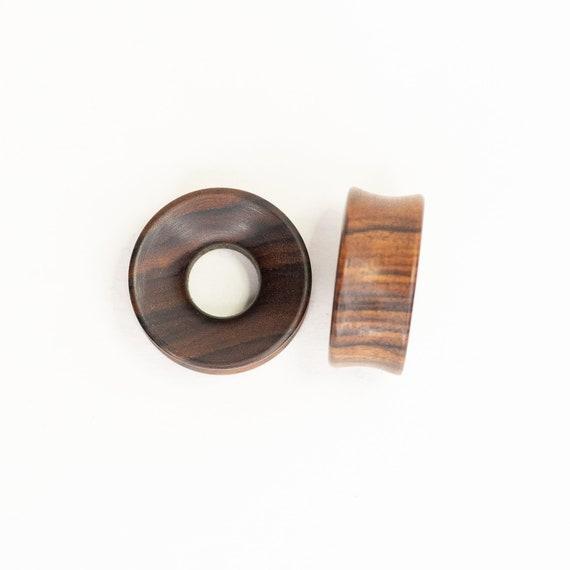 "Pair Sono Wood Paw Print Flesh Tunnel Double Flared Ear Plugs Handmade 0G-1/"" US"