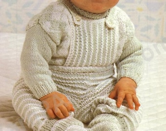 DK - Baby DK Cotton Dungaree, Jumper and  Booties - 46 - 56cm (18 - 22ins)