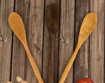 Kitchen Stirring Spurtle Handcarved Out Of Birdseye Maple, Black Walnut, Or Wild Cherry