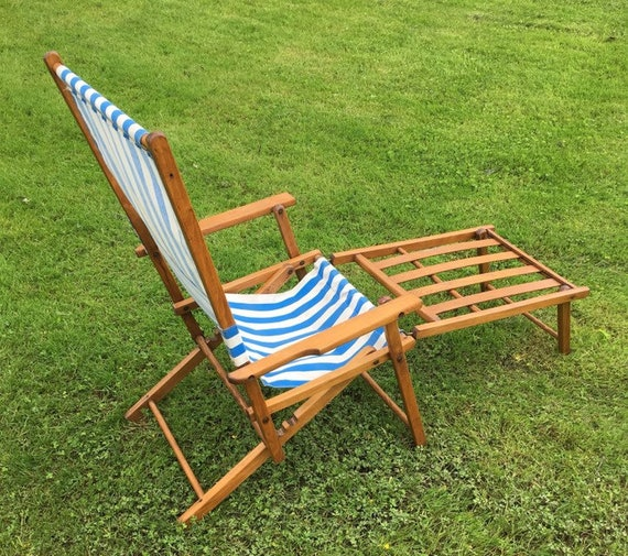 VINTAGE BEACH CHAIR, vintage wood folding beach chair and foot rest , blue  and white striped canvas beach chair , rare beach chair