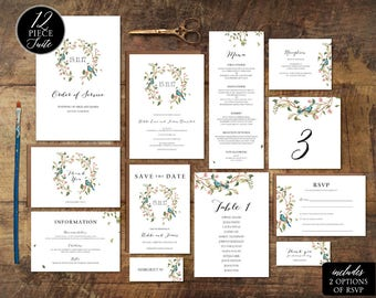 rustic wedding invitation template download etsy