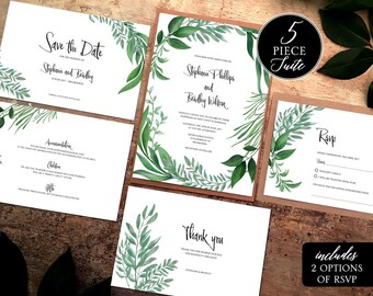 invitation greenery suite printable botanical wedding green etsy