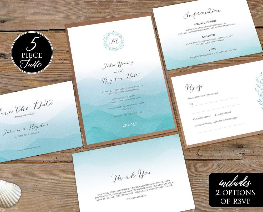 Printable Beach Wedding Invitations: Beach Wedding Invitation Printable Summer Wedding Suite