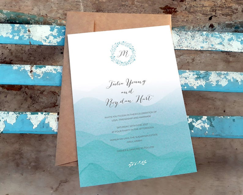 Beach Invitation Printable Wedding Template Ombre Blue | Etsy