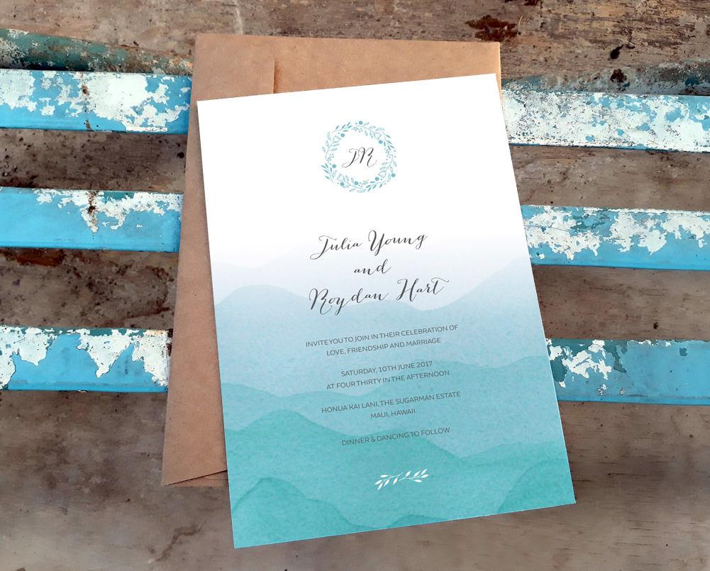 beach invitation printable wedding template ombre blue