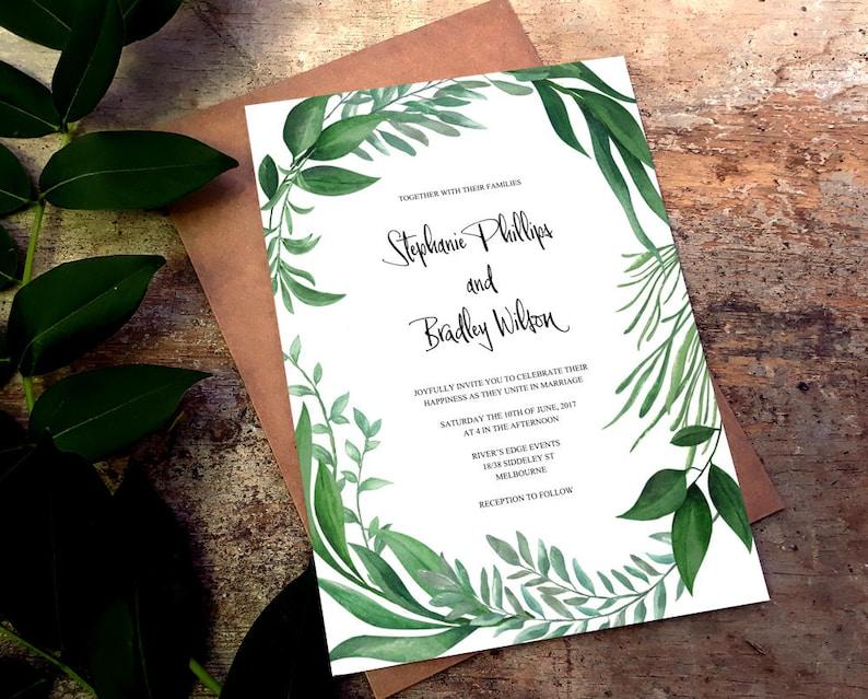 Printable Greenery Invitations Wedding Instant Greenery Botanical Leaf Suite Editable Greenery Download Leaf Invite Template Wreath Set