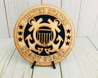 Coast Guard, Laser Cut Wooden Coast Guard Emblem, Father's Day, Dad Hero, Mom Hero, Military, Veteran's Day, Memorial Day, Graduation