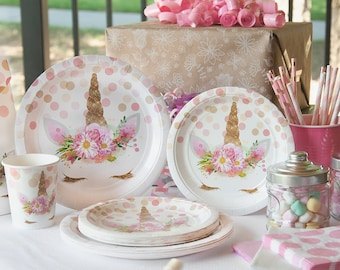 Unicorn Party Supply Set For 12 Includes Dinner Paper Plates Cake Or Dessert And Cups