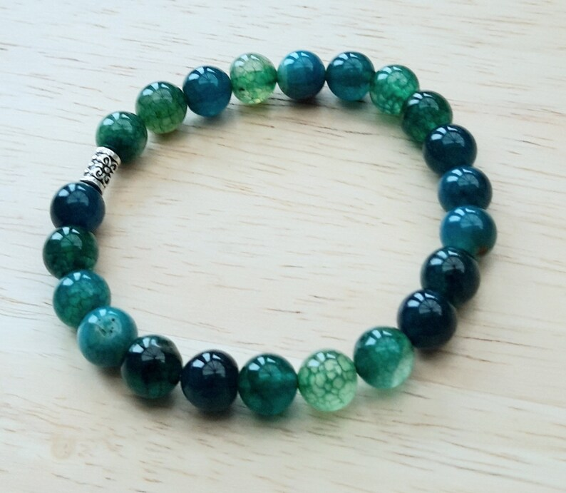 8mm Green Fire Agate Healing Gemstone Bracelet for Fertility Meditation Calming Joyful Energy Gift for Her Root /& Sacral Chakras