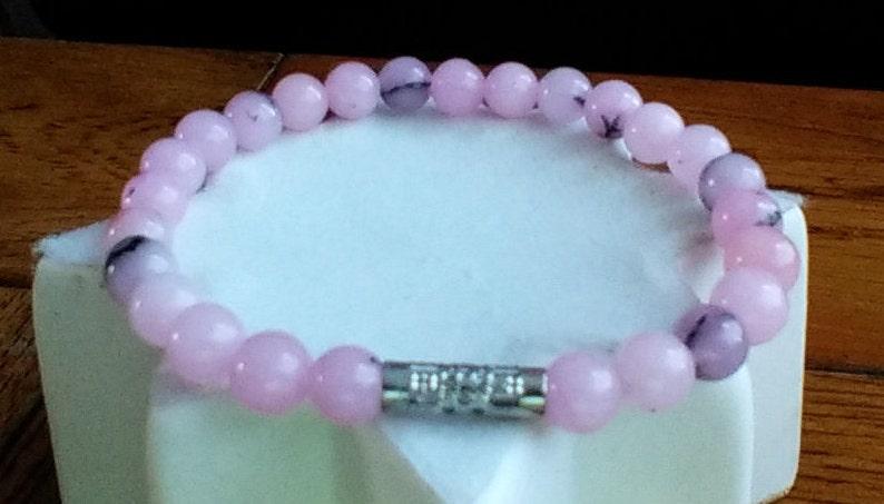 Spiritual Awareness 6mm Healing Beads Cherry Blossom Jasper Bracelet Meditation Mala Energising Improves Concentration Girlfriend Gift