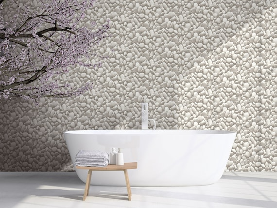 Gray Stone Peel and Stick Wallpaper White Pebble Rock Wallpaper Kitchen  Backsplash Washable Waterproof Bathroom Removable Vinyl 30.75 Feet