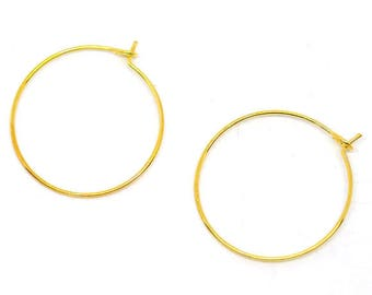 BO44 - Set of 10 rings hoop earrings goldtone 29mmx25mm