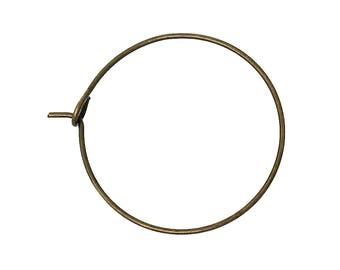 BO43 - Set of 10 rings hoop earrings metal bronze 29mmx25mm