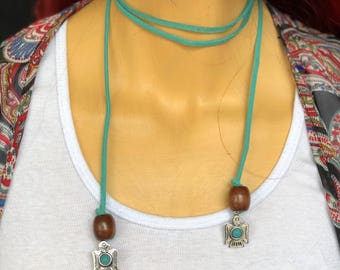 Suede wrap choker with Eagles