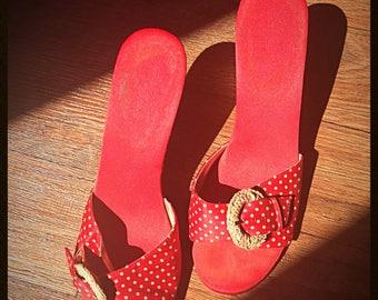 Red Polka dot backless kitten heels