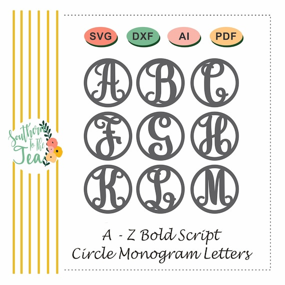 Circle Script Monogram Letters Svg Alphabet A Z In Circle Etsy