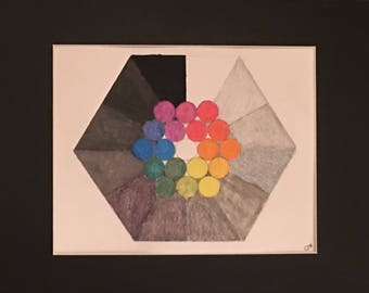 Color Bubbles, 9x12 combination acrylic & colored pencil abstract version of a color wheel. Primary colors and greys in geometric patterns