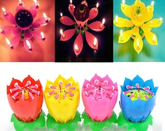 Cake Topper Musical Lotus Candle For Birthday And All Occasions