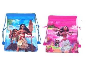 12 Piece Disney Moana Pink Or Blue Drawstring Bag Backpack For Party Favors Goodie Gift Birthday Bags