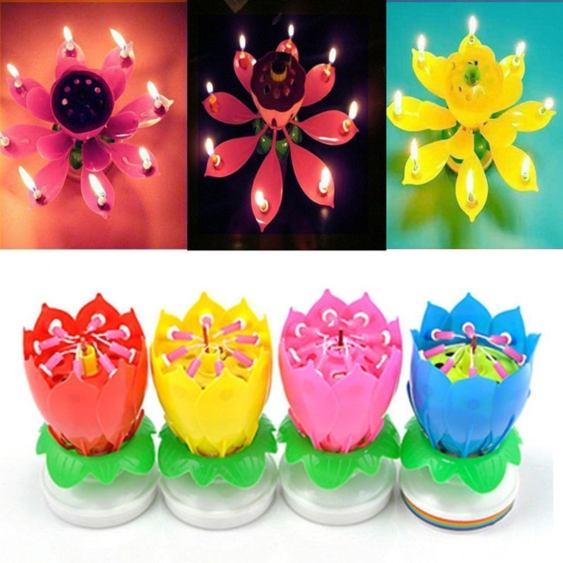 Cake Topper Musical Lotus Candle For Birthday And All