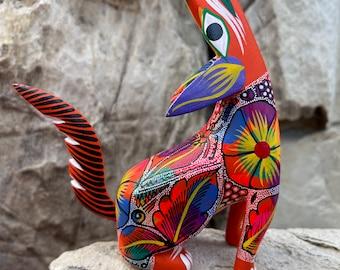 "Howling Wolf Coyote Alebrije, Oaxaca Alebrije Wooden Hand Carved and Painted 5"" Figurine"