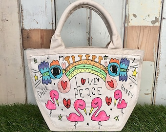Flamingo & Stork Embroidery Mini Tote Bag