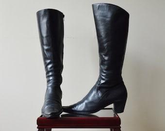 Vintage black leather western boots 8.5 9 40EU