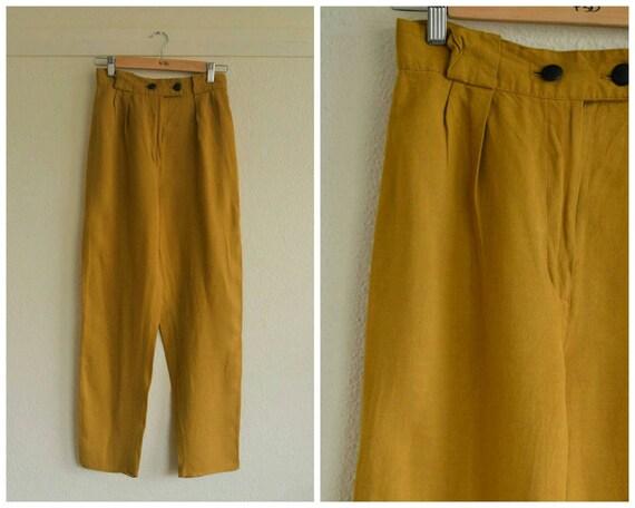 Vintage 1980's mustard yellow pants // high waist