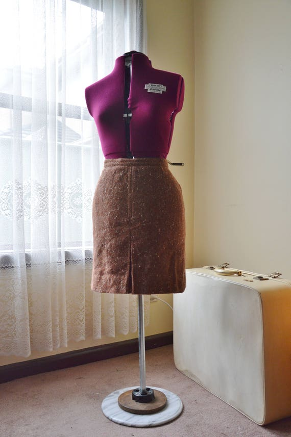 Vintage 60's rust brown and white wool mini skirt