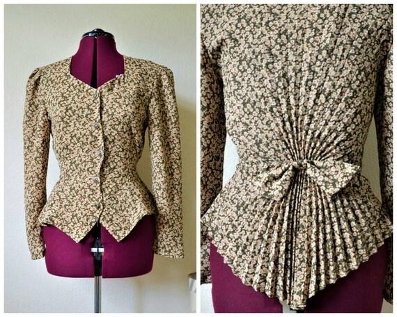 Vintage 80s does 40s blouse // floral peplum fisht