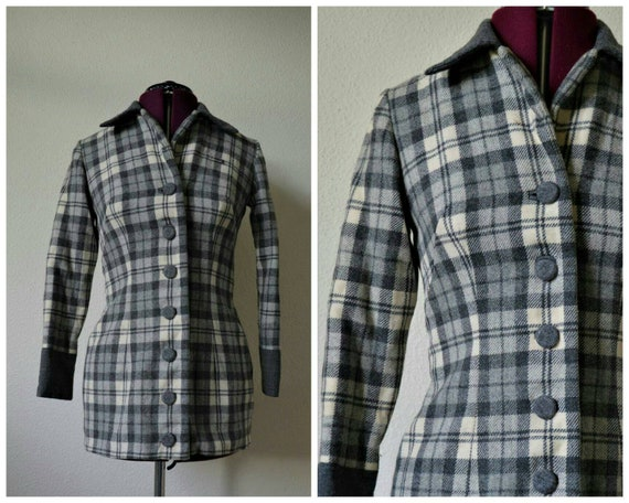 Vintage 1940s suit jacket // grey white check wool