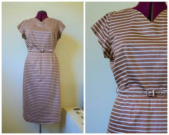 Vintage 1950's day dress // striped wiggle dress /