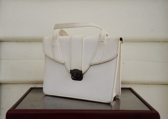 Vintage 1950's   60's White Leather Purse Hand Bag by Etsy