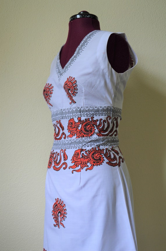 Vintage 60s 70s maxi dress // white red geometric… - image 6