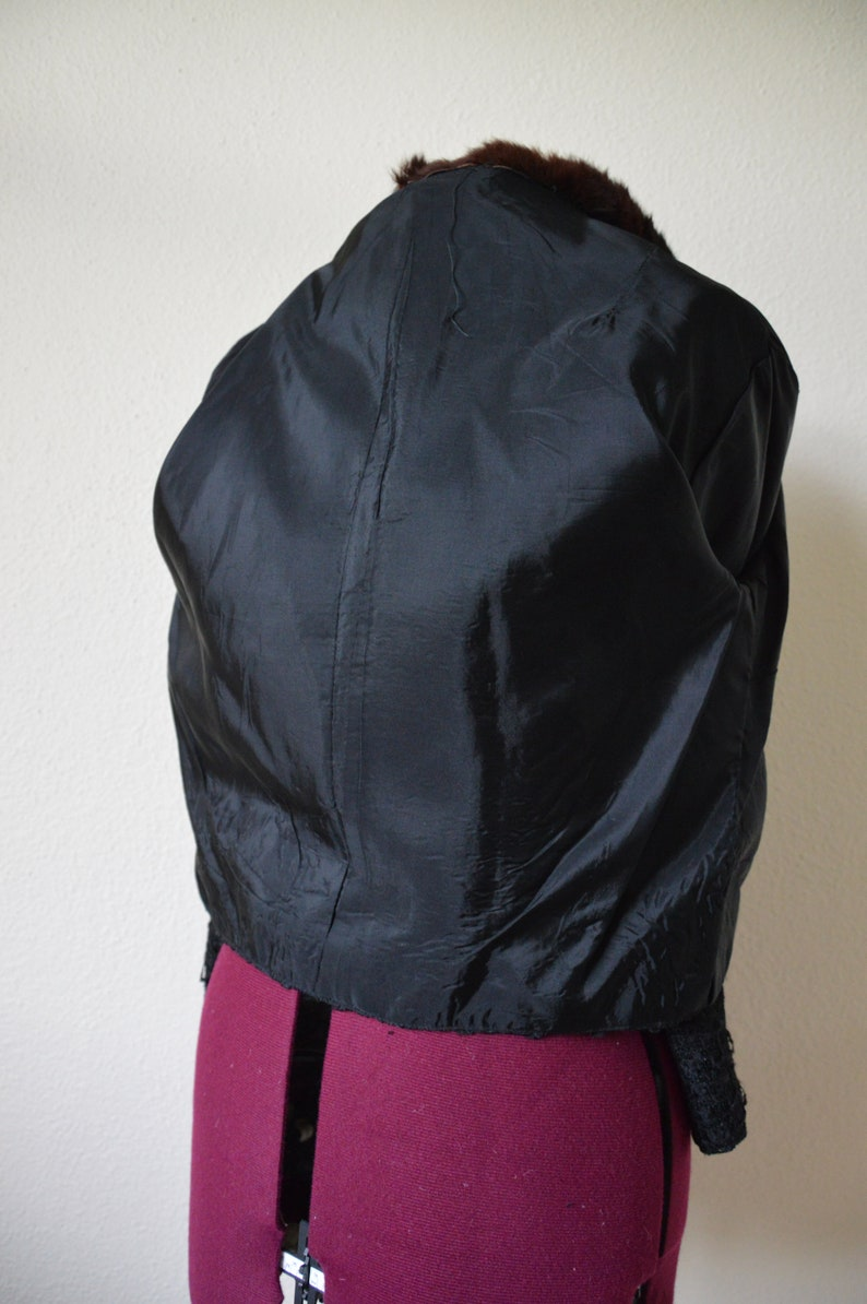 Vintage 50s 60s 40s jacket  black cropped jacket BOLERO ribbon weave  brown fur collar  S M L