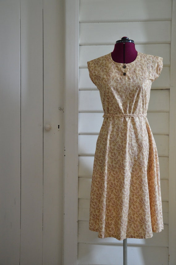 bottom price modern and elegant in fashion best sale Vintage 70's floral beige tan brown sundress 70's does 40s S M