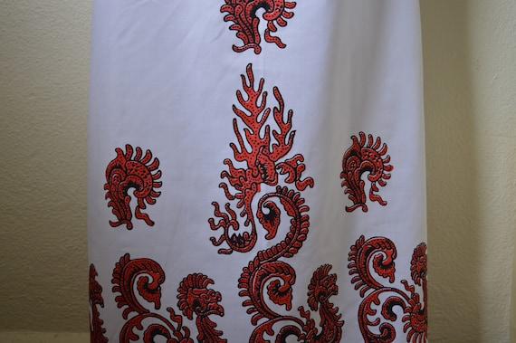Vintage 60s 70s maxi dress // white red geometric… - image 8