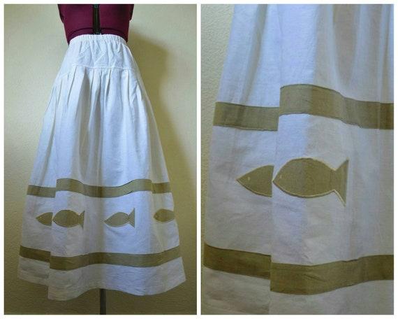 Vintage 1980's novelty print skirt // fish skirt c