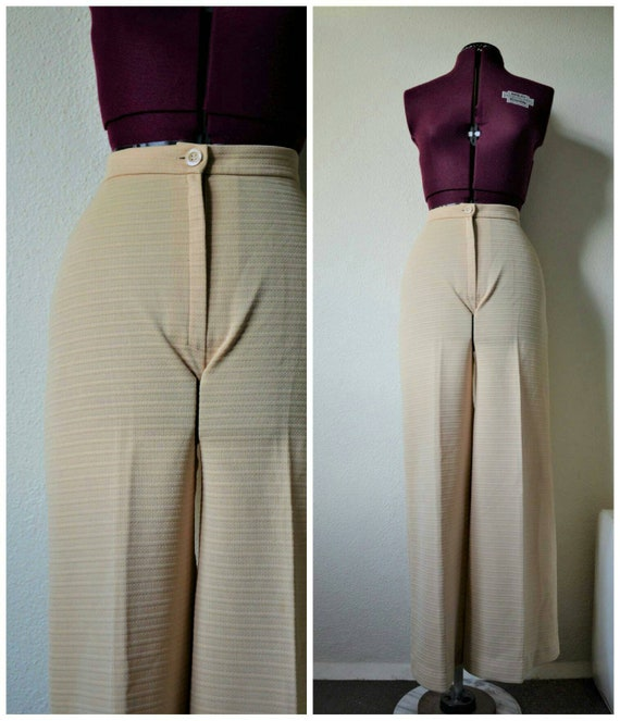 Vintage 1970's beige bell bottoms wide leg trouser