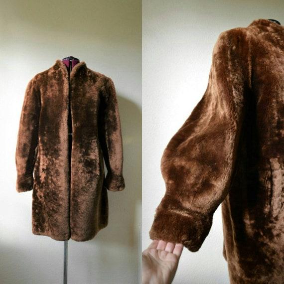 vintage 1940's mouton fur shawn beaver fur coat ba