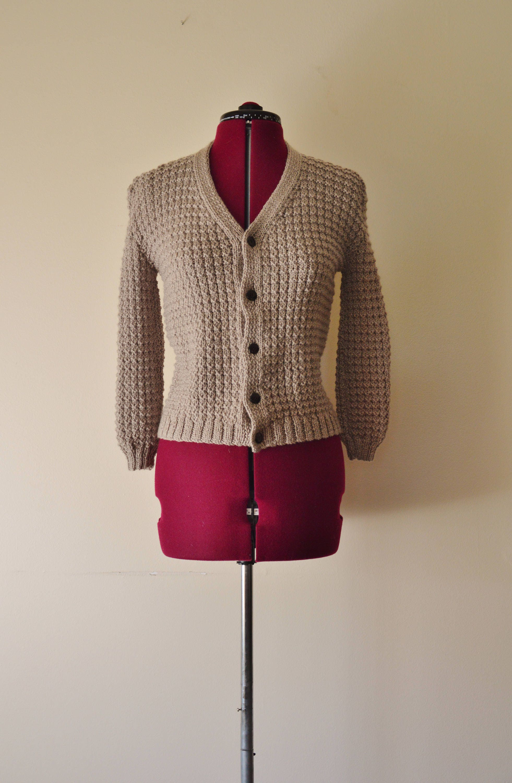 2178d52a5 hand knitted vintage cardigan olive green grey sweater jumper